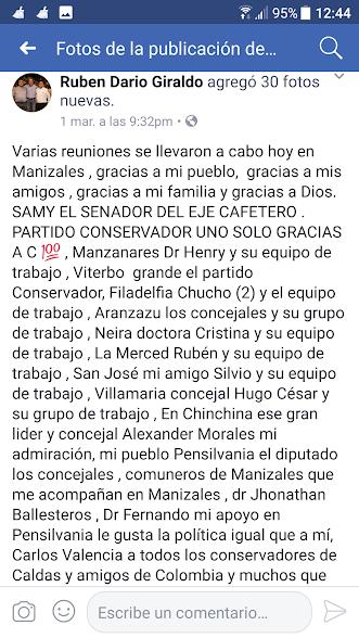 Facebook del Concejal Giraldo